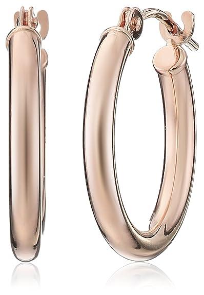 14k Rose Gold Round Hoop Earrings (0.6'' Diameter)