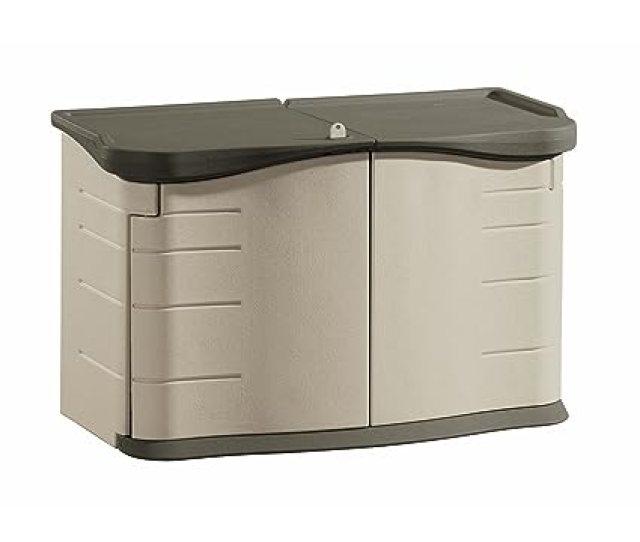 Amazon Com Rubbermaid Outdoor Split Lid Storage Shed 18 Cu Ft Olive Sandstone Fg375301olvss0 Outdoor Storage Containers Garden Outdoor