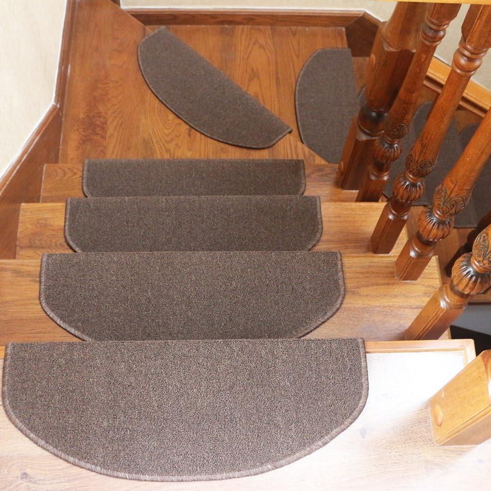Qingbei Rina Carpet Stair Tread Mats Non Slip Indoor Stair | Wedge Shaped Carpet Stair Treads | Beige | Spiral Stairs | Wood | Adhesive Carpet | Flooring