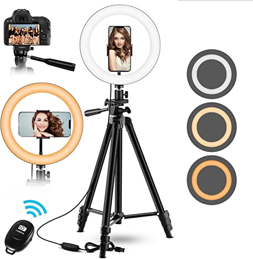 "10"" Selfie Ring Light with Adjustable Tripod Stand & Phone Holder - Upgraded Dimmable LED Beauty Camera Ringlight for Photography/Makeup/Vlogging/Live Streaming, Compatible with Phones and Cameras"