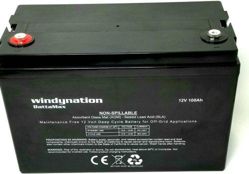 WindyNation 100 amp-Hour 100AH 12V 12 Volt AGM Deep Cycle Sealed Lead Acid Battery