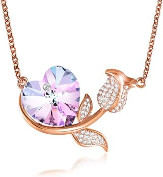 Angelady Heart Shaped Rose Flower Necklace for Women, Crystals from Swarovski, Rose Gold Necklace for Girls Valentine's Day Birthday for Her