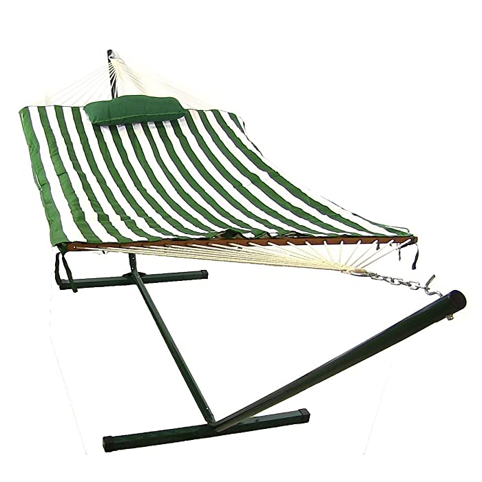 Sunnydaze Green and White Striped Rope Hammock