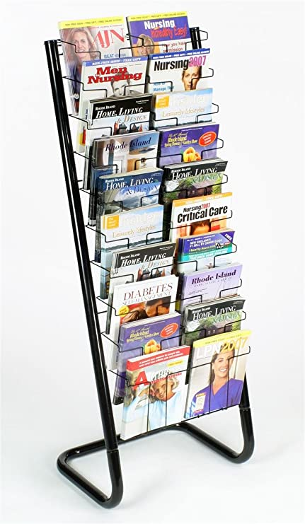 Amazon Com 57 Floor Standing Wire Magazine Rack 20 Pockets Tiered Design Black Literature Organizers Office Products