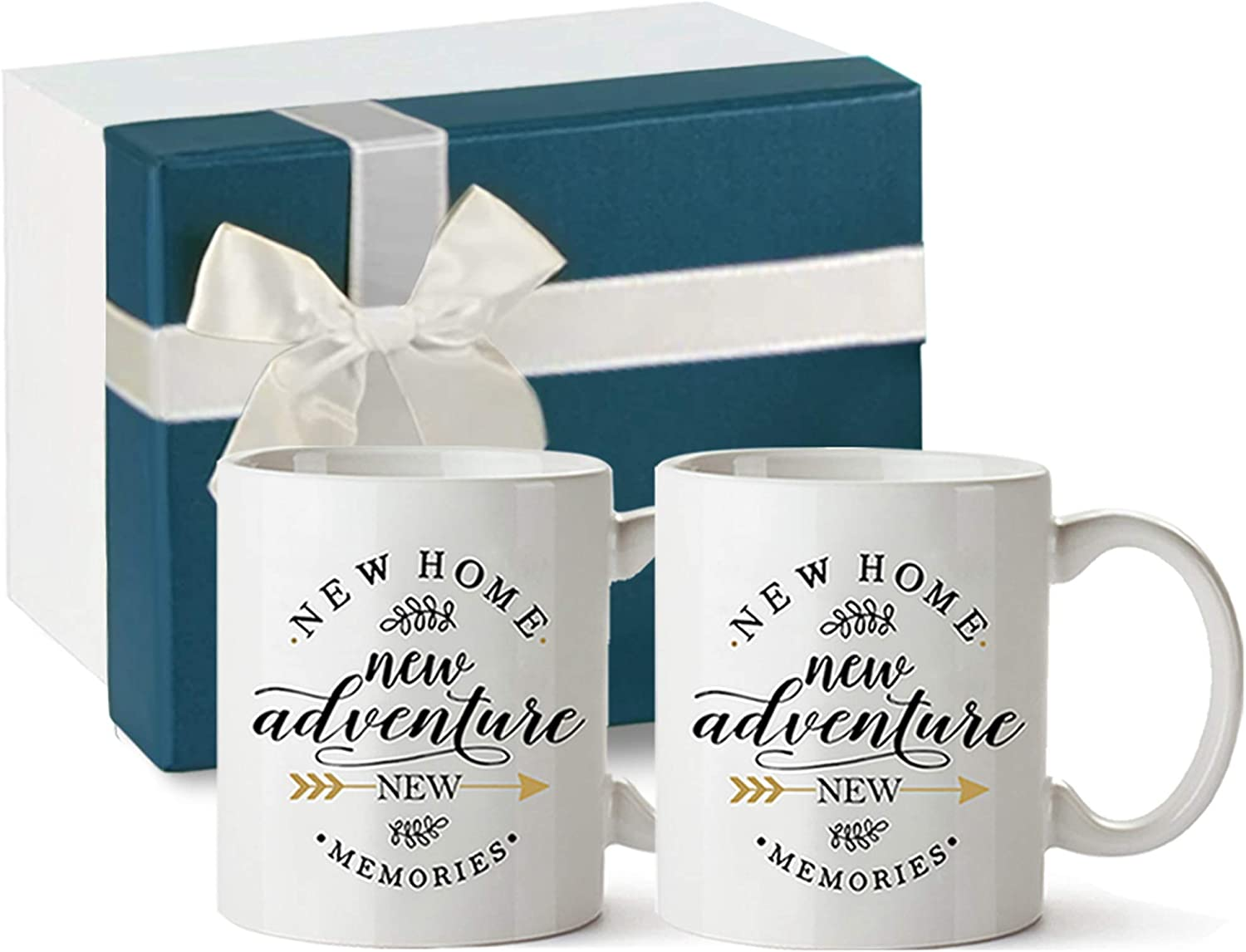 Amazon Com Tom Boy Housewarming Gifts For New Home Owner House Warming Presents For Friends And Couple New Adventure New Memories 2 Pack Coffee Mugs 11oz Kitchen Dining