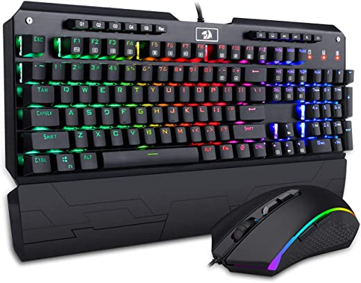 Redragon K555-RGB BA Mechanical Keyboard and Mouse Combo Wired USB RGB LED Backlit Illuminated Computer Gaming Keyboard with Macro Keys Wrist Rest Blue Switches + RGB Backlit PC Gaming Mouse M710
