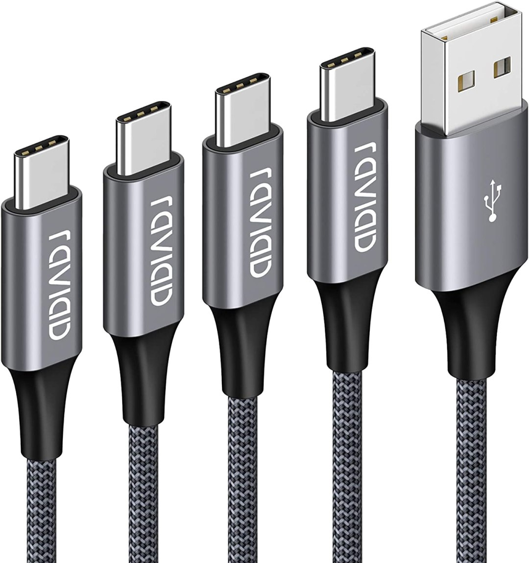 Câble USB Type C, RAVIAD [Lot de 4, 0.5m+1m+2m+3m] USB Cable Type C en Nylon Tressé Chargeur USB C Connecteur pour Samsung Galaxy S10/ S9 /S8 /Note 10 9,Huawei P30/ P20/ Mate20, Sony Xperia XZ Gris