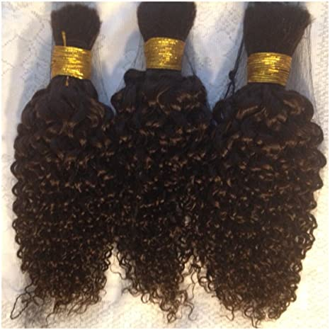 Kinky Curly 100% Human Brazilian Bulk Hair For Tree Braids