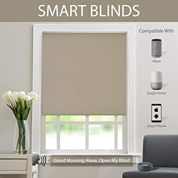 Buy Deco Window Smart Blinds Compatible With Alexa Google Home Blackout Roller Blinds For Windows Door Office Home Decor Curtains 54 Wide X 84 Long Brown Online At Low Prices In