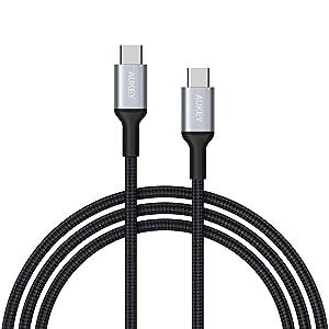 AUKEY Câble USB C à USB C 2m en Nylon Câble USB Type C de Recharge pour Samsung Note 10+ 9 S10+ S9 S8, Nintendo Switch, MacBook Pro 2016, Huawei P10, Google Pixel et Autres périphériques USB C - Noir