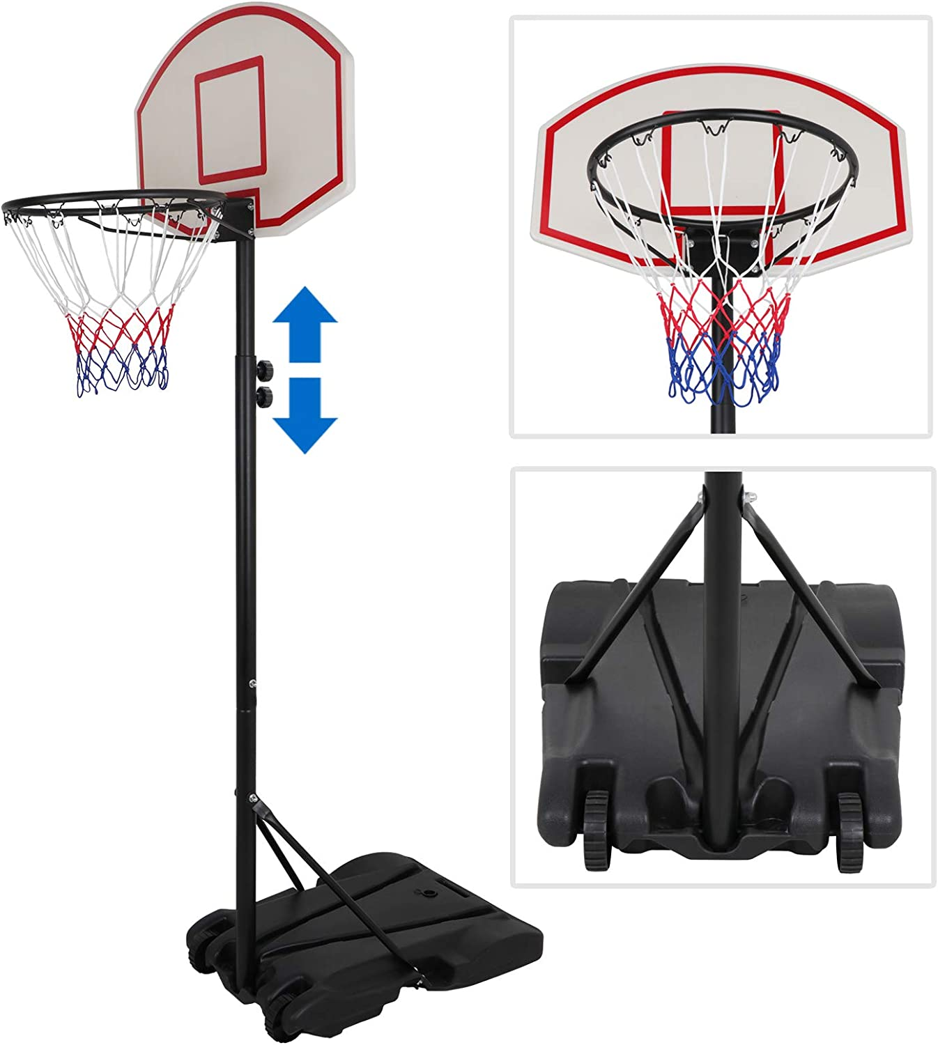Amazon Com Zeny Portable Basketball Hoop Backboard System Stand And Rim For Kids Youth W Wheels Adjustable Height 5 4ft 7ft Indoor Outdoor Basketball Goal Game Play Set Sports Outdoors