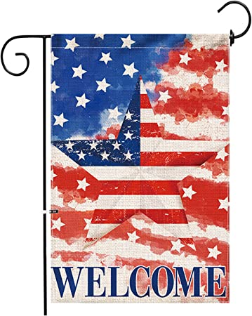 Amazon Com Hexagram 4th Of July Patriotic Garden Flag 12x18 Burlap Garden Flag Double Sided Banner Watercolor American Patriotic Stripes And Stars 4th Of July Independence Day Decor Garden Outdoor