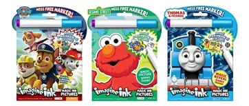 Bundle of 3 Imagine Ink Magic Pictures Activity Books - Paw Patrol, Sesame Street, Thomas & Friends