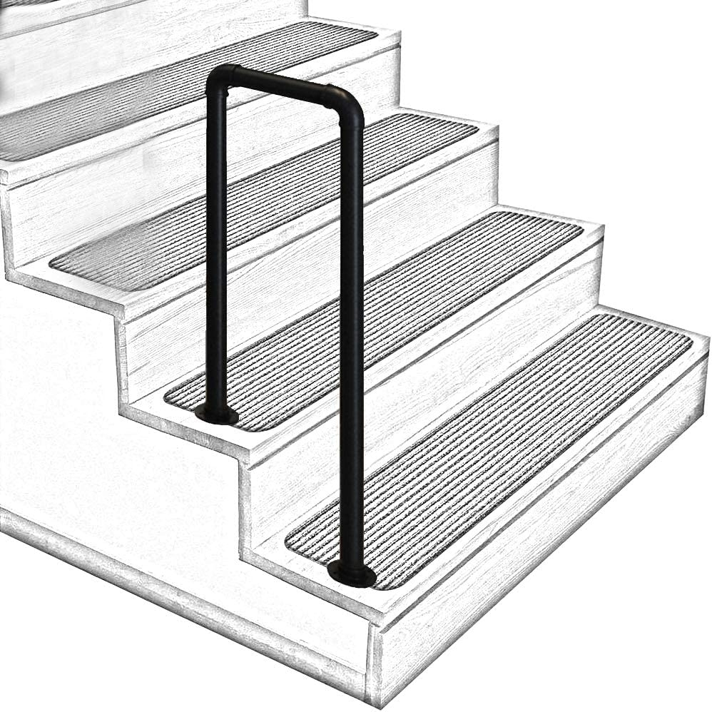 Amazon Com U Shaped Matt Black Non Slip Wrought Iron Stair | 3 Step Outdoor Stairs | Wrap Around | Prefab | Outdoor Shed | Framing | Concrete