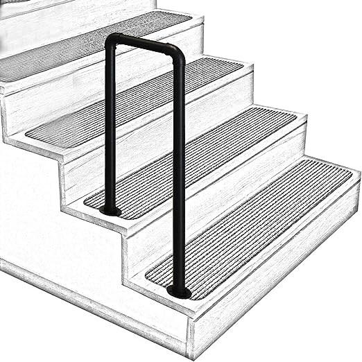 Amazon Com U Shaped Matt Black Non Slip Wrought Iron Stair | Stair Rails For Elderly | Porch | Stair Climbing | Stainless Steel | Stair Climber | Cmmc Handrail