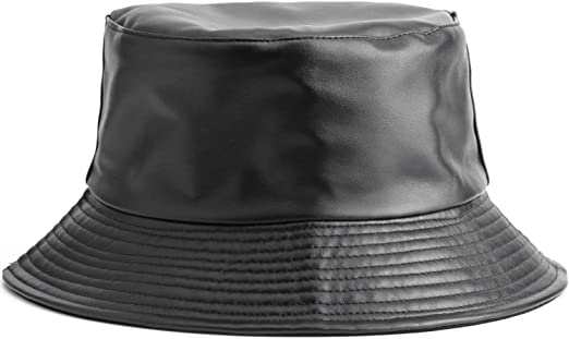fashionable bucket hat in black leather