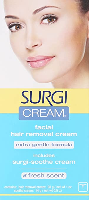 Amazon Com Surgi Cream Hair Remover Extra Gentle Formula For Face  Ounce Tubes Pack Of  Beauty