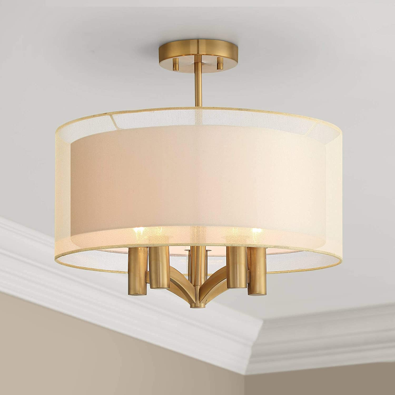 "Caliari Modern Ceiling Light Semi Flush Mount Fixture Warm Brass 18"" Wide 5-Light Double Drum Shade for Bedroom Kitchen Living Room Hallway Bathroom – Possini Euro Design"