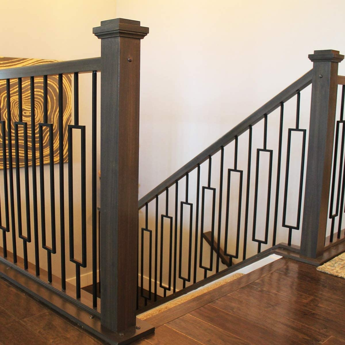 Contemporary Rectangle Stair Wrought Iron Balusters 10 Pack | Black Banister With White Spindles | Brazilian Cherry Stair | Victorian | Traditional Home | Iron Spindle White Catwalk Brown Railing | Gray
