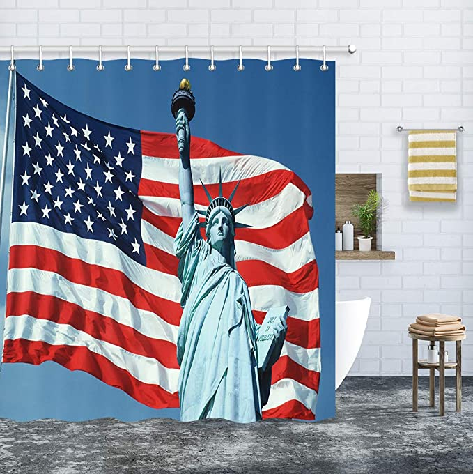 American USA Flag Decor Shower Curtain, Statue of Liberty with Flag of United States Independence Day Upgrade Polyester Fabric Bath Curtain Bathroom Accessories, with 12PCS Hooks 69X70 Inches