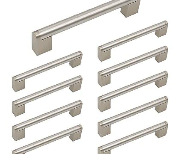 Homdiy Brushed Nickel Cabinet Pulls 5in Hole Center Drawer Pulls 10 Pack Hdj14sn Brushed Nickel