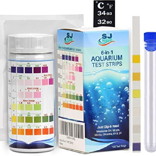 SJ Wave 6 in 1 Aquarium Test Strips with Thermometer | Fast & Accurate Water Quality Testing Kit for Aquariums & Ponds