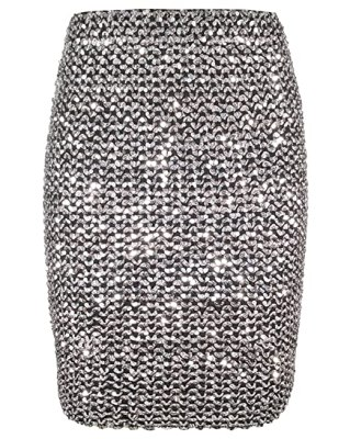 Womens Sexy Shining Glitter Sequin Mini Skirt Elastic Bandage Bodycon Hobble Pencil Skirts (One Size, Silver)