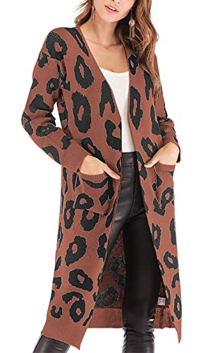 BTFBM Women Long Sleeve Open Front Leopard Knit Long Cardigan Casual Print Knitted Maxi Sweater Coat Outwear with Pockets (Coffee, Large)