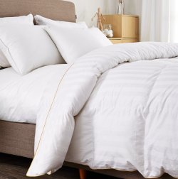 PUREDOWN WHITE GOOSE DOWN COMFORTER-600 FILL POWER-FULL/QUEEN- COTTON SHELL 500TC-STRIPE WHITE