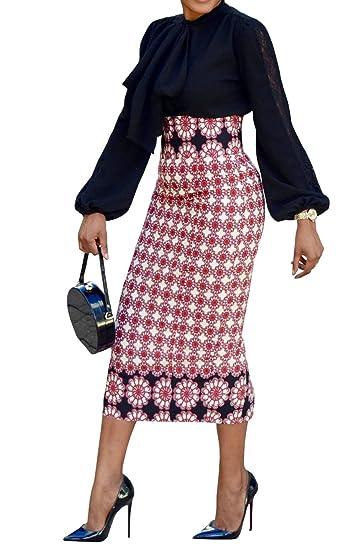 Runcati Womens African Print Floral Midi Knee Length Skirts Slim Fit Bodycon High Waist Pencil Dresses