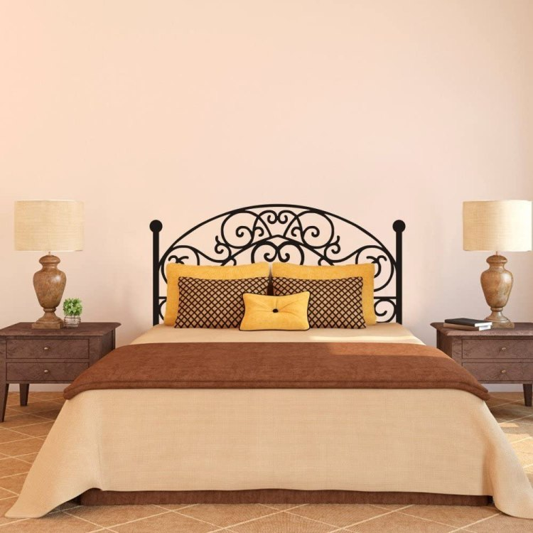 Amazon Com Wrought Iron Headboard Wall Decal Square Plant Wall Sticker Bedroom Wall Decor Wall Graphic Wall Mural Headboard Wall Decoration Queen Black Home Kitchen