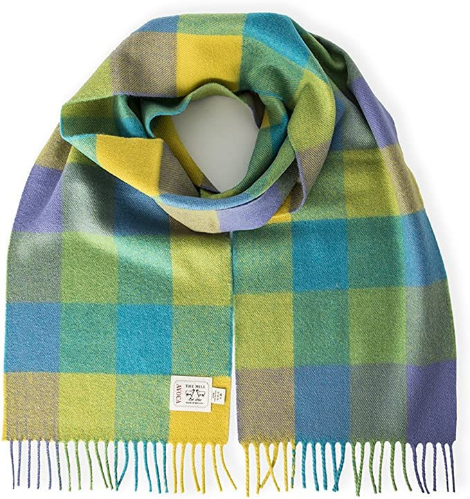 Avoca Pure Wool Scarf (Made in Ireland) Lime Check Design