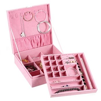 Image result for MaleDen Jewelry Case, Double-Layer Lint Jewelry Organizer Box Necklace Display with Lock and Removable Partition for Earrings Bracelets Rings Watches Case (SkyBlue)
