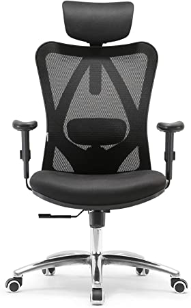 Sihoo Ergonomic Office Chair Adjustable Headrest And Lumbar Support High Back Computer Chair Black Amazon Co Uk Kitchen Home