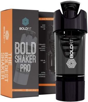 Boldfit Gym Shaker Pro Cyclone Shaker 500ml with Extra Compartment