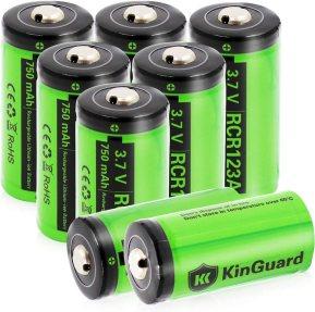 RCR123A Rechargeable Batteries KinGuard 8 batteries