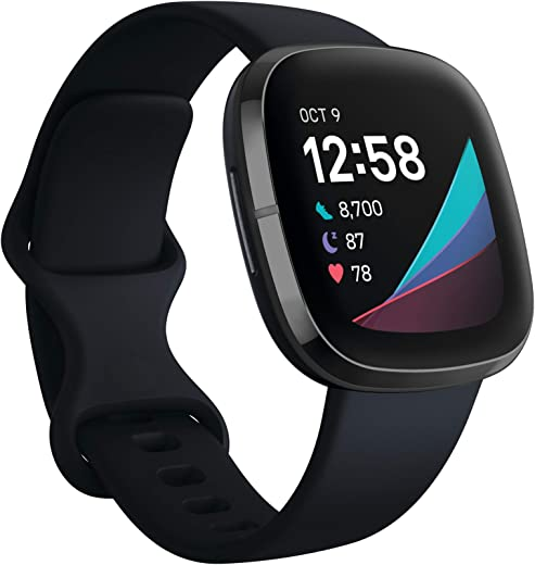 Fitbit Sense Advanced Smartwatch with Tools for Heart Health, Stress Management & Skin Temperature Trends, Alexa Built-in, Carbon/Graphite, One Size (S & L Bands Included)