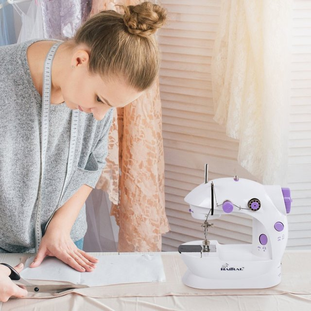HAITRAL Portable Sewing Machine Adjustable 2-Speed Double Thread Electric Crafti