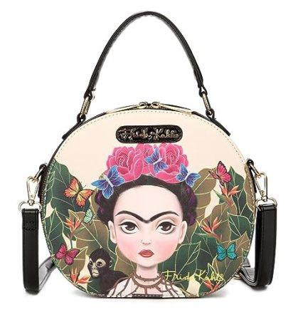 Frida Kahlo Cartoon Collection Small Handbag Cross Body Bag (Black)