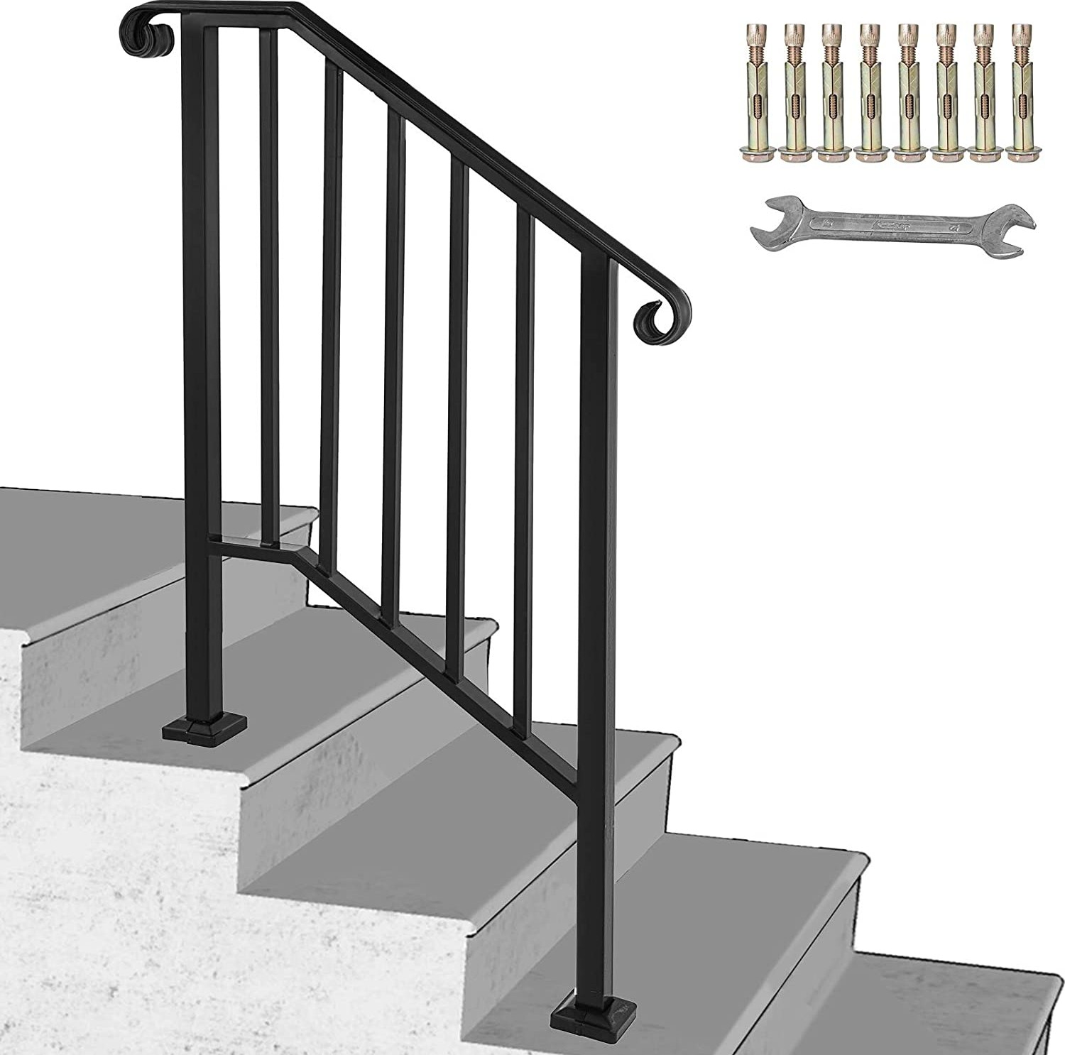 Happybuy Handrail Picket 2 Fits 2 Or 3 Steps Matte Black Stair | Iron Handrails For Outside Steps | Railing Systems | Front Porch | Aluminum Railing | Deck Railing