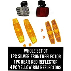 RP Accessories Reflector Kit Front and Rear Reflectors Kit (Red and White) 2pcs, Wheel Reflectors (Yellow) 4pcs Bicycle Reflector Kit