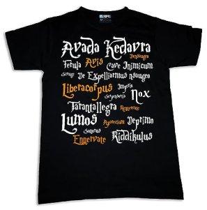 Harry Potter Spells Womens T-shirt Movie Fun Magic Nerdy Geek Sorcerer (S)