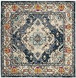 Safavieh MNC243N-3SQ Monaco Collection Premium Wool Square Area Rug, 3', Navy/Light Blue
