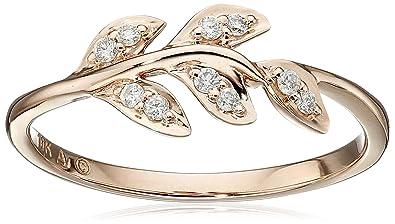 10k Rose Gold Diamond Leaf Ring 112cttw Ij Color I2 I3 Clarity Size 7