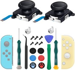 2-Pack Joycon Joystick Replacement, 3D Analog Joystick Thumb Sticks for Nintendo Switch, Joycon & Switch Lite Replacement Part Repair Kit, Include Metal Buckles,Screwdrivers,Thumb Grips Caps,Pry Tools
