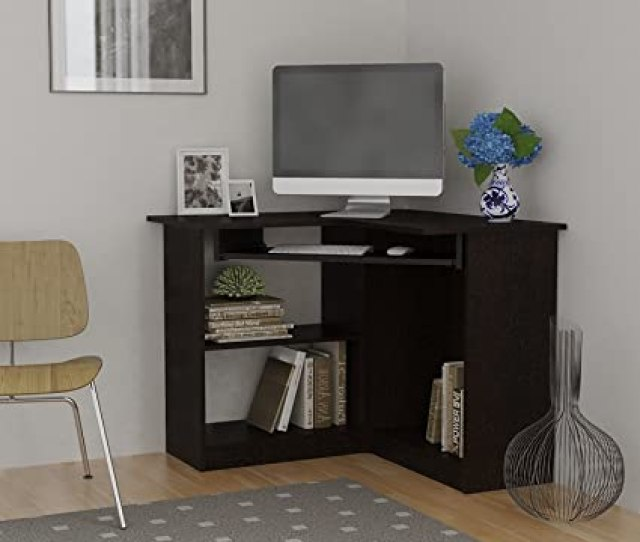 Amazon Com Home Corner Computer Desk Small Corner Computer Desk Desktop Student Espresso Kitchen Dining