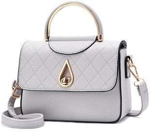 Covelin Women's Small Leather Handbag Tote Shoulder Crossbody Bag Light Grey