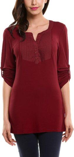Zeagoo Womens Long Sleeve Scoop Neck Blouse Henley Tee Shirt(Small,Wine Red)