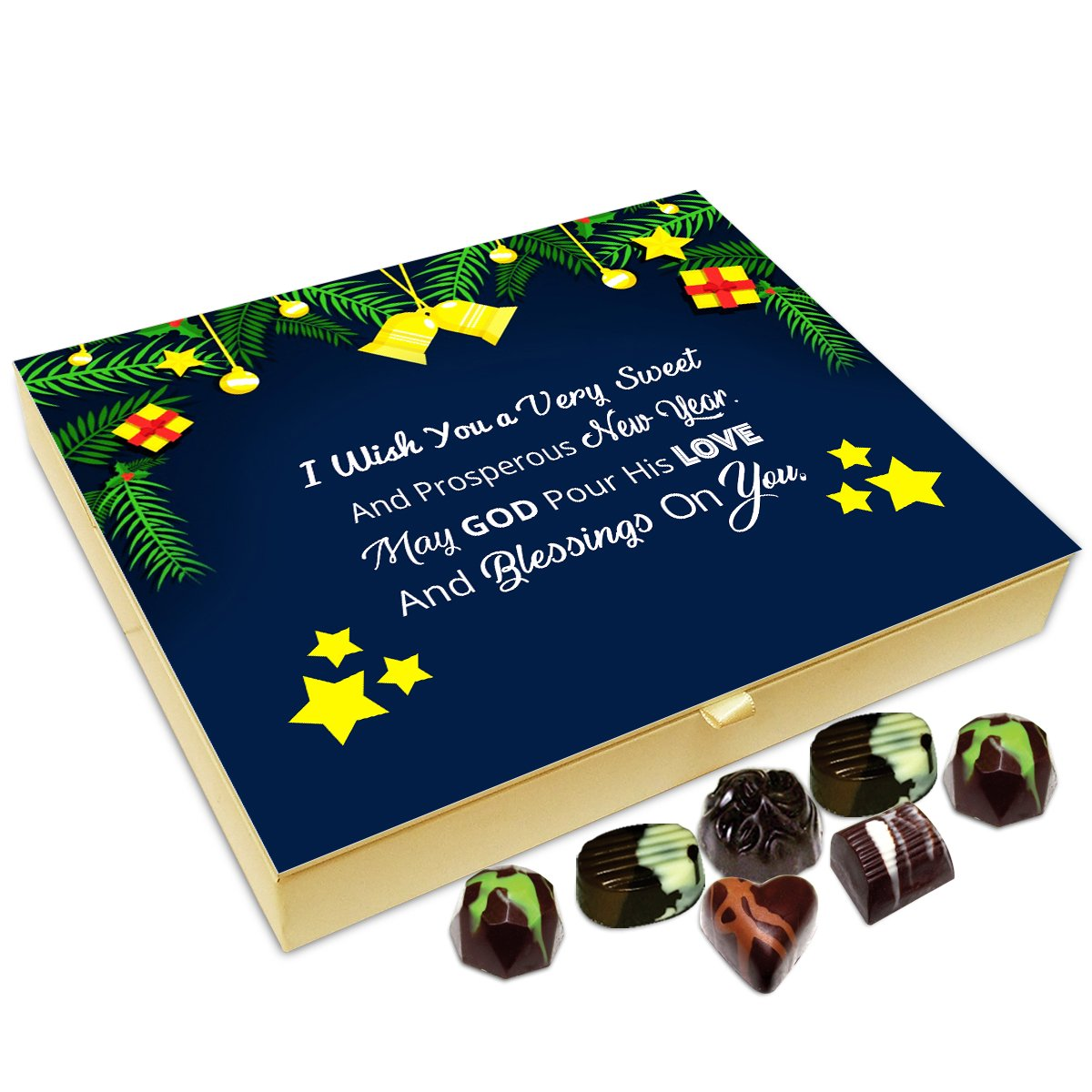 Chocholik New Year Chocolate Box – I Wish You A Very Sweet and Prosperous New Year Chocolate Box – 20pc