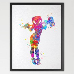 Dignovel Studios 11X14 Harley Quinn Watercolor Print Batman Art Print Nursery Art Gift Poster Minimalist Abstract Art Kids Art Superhero Prints Wedding Gift N399